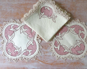 Vintage Set of Doilies with Matching Napkins - Afternoon Tea