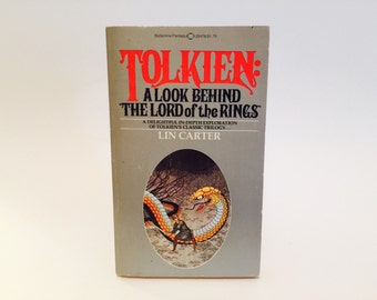 Vintage Fantasy Book Tolkien: A Look Behind the Lord of the Rings by Lin Carter 1976 Edition Paperback