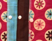 Unpaper Towels with Snaps, Two-Ply Paperless Towels, Reusable Paper Towels, Hot Pink Kitchen, Pink Blue Brown