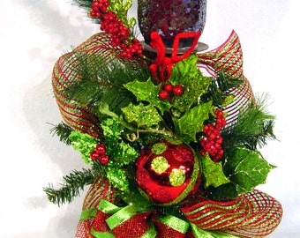 Christmas BLING pillar Candleholder Floral Arrangement red lime Stunning design by Cabin Cove Creations