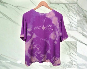 Vintage 80s Purple Pure SIlk Boho Tie Dye Upcycle Blouse OOAK size Large