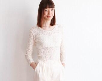 Vintage White Lace Blouse