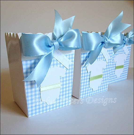 Blue Popcorn Favor Boxes : Items similar to boys baby shower popcorn favor box blue