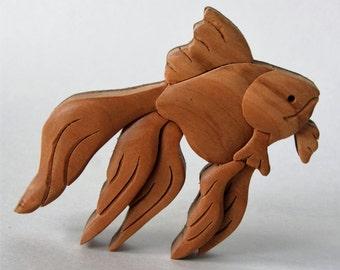 Goldfish Intarsia Wood Carving Magnet