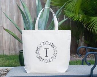 Personalized Custom Monogram Letter T Canvas Tote Bag, Market Bag, Bridesmaid Bag, Wedding Bag, Gift Bag, Wedding Welcome Bag