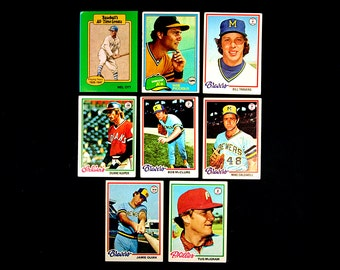 Nine Vintage Topps Baseball Cards Phillies Brewers Indians A's Giants