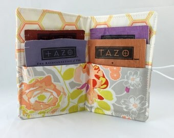 Tea Wallet - Tea Bag Wallet - Tea Bag Case Tea Bag Holder - Tea Holder - Tea Bag Cozy Art Gallery Sweet as Honey Orchard Blossom in Autumn