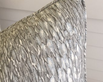 Kravet Chromis in Metal  Linen Designer Pillow Cover - Square, Euro or Lumbar