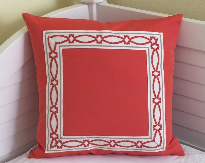 HOLIDAY SALE and FREE Shipping, Sunbrella Melon Indoor Outdoor 18x18 Pillow Cover with Trim Tape
