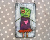 Zombie Girl Art, Creepy Cute, Valentine Decoration, Zombie ornament, Original Mixed Media Art, OOAK, heart, stitches, blood, stripes, green