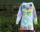 Unique Bunny Art Doll, OOAK Original Design, Textile Mixed Media Art Doll, Colorful Hand painted printed fabrics, Rabbit Lover gift, fun