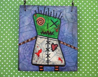 Zombie Art, Creepy Cute Valentines Day Gift, heart, Pin Head Zombie ornament, Original Mixed Media Art, OOAK, spider webs, stitches, blood