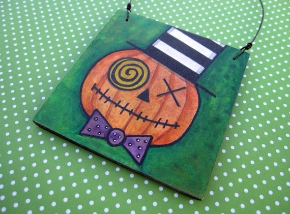 Halloween Pumpkin Decoration, Wacky Pumpkin Jack, Jack o lantern, Original Mixed Media Art, OOAK Ornament, striped, orange, purple, green