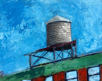 New York City Water Tower Original 11x14 Impressionistic Acrylic Painting on Panel