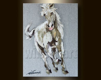 Horse Portrait Original Animal Oil Painting Textured Palette Knife Modern Art 12X16 by Willson Lau