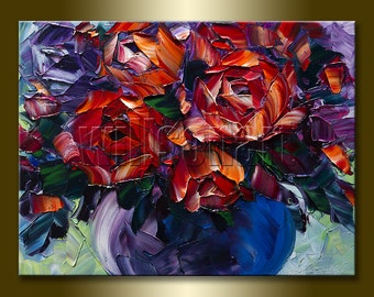 Floral Canvas Modern Flower Oil Painting Roses Textured Palette Knife Original Art 12X16 by Willson Lau