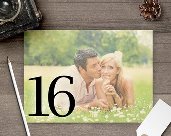 Photo Table Numbers / Photo Wedding Table Numbers / Table Numbers / Table Number Cards / Photos / Engagement Pictures - tn0022