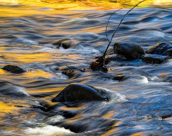 Flowing Water over a Rocky Riverbed on the Thornapple River by Alaska Michigan in Autumn No.33 A River Abstract Nature Landscape Photograph