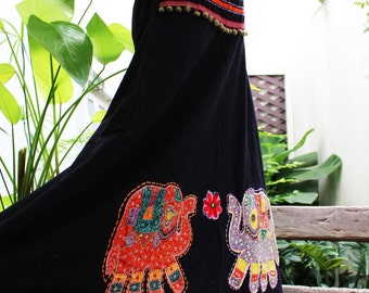 Black Cotton Skirt with Stitched Cotton Elephants MLE1610-06