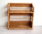 Vintage Wicker Shelves, Wall Shelving Unit, Rattan Storage Shelf, 1980s Organization, Natural Boho Decor