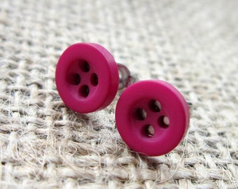 8mm magenta hot pink button stud earrings - surgical steel posts studs