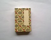 Japanese accordion notebook sketchbook - Katazome olive-coloured shapes