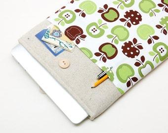 50% OFF SALE White Linen MacBook Case. Case for MacBook 15 Pro Retina. Sleeve for MacBook 15 Pro with retro apples pocket. MacBook Cover