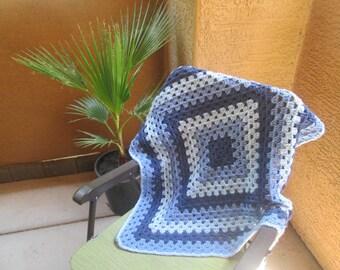 "Crocheted afghan, 31""x31"", dark country blue, medium blue, soft blue, baby, toddler, lap blanket"