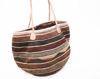 woven striped straw farmers market bag with leather handles