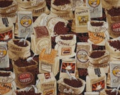 Bags of Coffee Beans Print Pure Cotton Fabric--One Yard