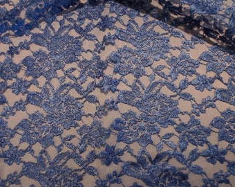 ON SALE Royal Blue Floral Design  Allover Lace Fabric--One Yard