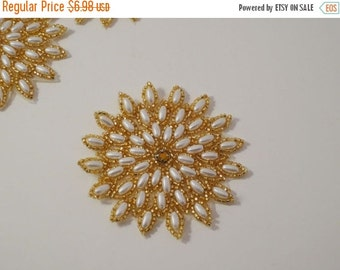 ON SALE Starburst Pearl and Gold Beaded Applique--One Piece