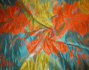 Turquoise Orange and Chartreuse Floral Design Imported Metallic Brocade Fabric--One Yard