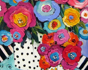 Happy Flowers I Original Painting 12 x 16 Art by Elaine Cory