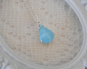 Vintage Light Aqua Necklace, Sterling Silver Necklace, Something Blue Necklace, Estate Jewelry, Glass Teardrop Pendant Necklace