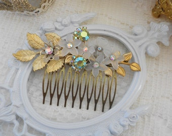 Jeweled Hair Comb, Gold Leaf Hair Comb, Reclaimed Vintage, Aurora Borealis Hair Comb, Floral Hair Comb, Assemblage Jewelry, Peridot, Grecian