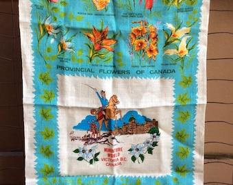 Provincial Flowers of Canada Vintage Linen Tea Towel - retro kitchen towel, miniature world, victoria bc, canadian, souvenir towel, floral