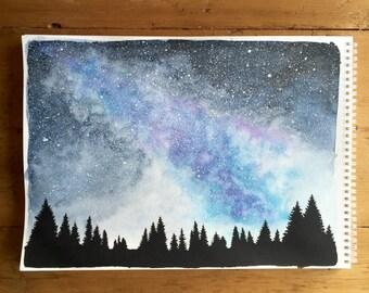 Indigo Sky & the Milky Way - Original Milky Way Watercolor Painting 11x15