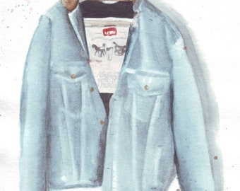 HM052 Original art watercolor painting Denim jacket by Helga McLeod
