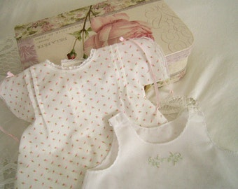 Sweet Rosebuds Baby Day Dress and Slip, size Newborn to 3 months, Old Fashioned Baby Dress, White with Pink Rosebuds