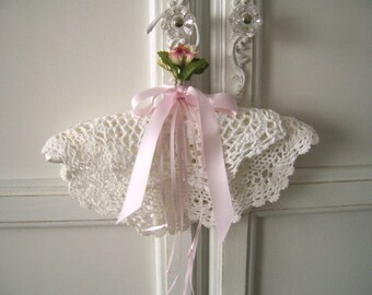 Christening Gown Baby Hanger, Shabby Chic Hanger, Nursery Decor, Embellished Baby Hanger, Doilies, Roses and Pink Ribbons, Baptism Gift
