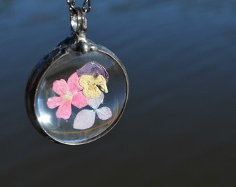 Summer Jewelry, Real Flower Jewelry, 3 Flowers, Hydrangea, Pansy, Verbena, Real Flower Pendant, Nature Lover Jewelry, Real Flowers  (2503)