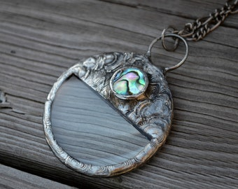 Abalone Necklace, Magnifying Glass Necklace, Looking Glass Pendant, Abalone Inset, Long Necklace  (1646)