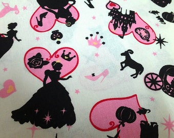 "NEW Cinderella - Cotton linen - 1 yard - 3 colors ,Pumpkin carriage,Fairy tales -Check out with code ""5YEAR"" to save 20% off"