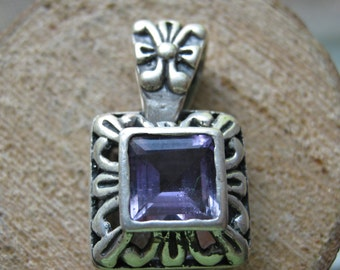 Vintage Sterling Silver and Lab Created Amethyst Gemstone Ladies Women's Pendant Victoria Style Design