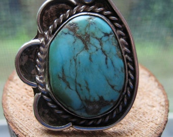Large Silver Ladies Women's Southwestern Navajo Turquoise Ring Size 7 Hand Made