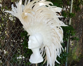 White Feather Mohawk Headdress- Headpiece, Burning Man, Costume, Bridal