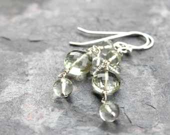 Prasiolite Earrings Green Amethyst Earrings Sterling Silver Gemstone Coin Dangle Earrings