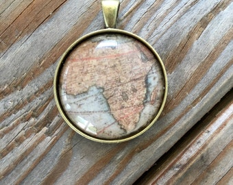 Globe Pendant Necklace or Keychain Africa Map World Travel Wanderlust Gift for Traveler Earth Nation