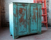 Reclaimed Sideboard Vintage Indian Distressed Turquoise Blue Kitchen Cupboard Bathroom Cabinet Moroccan Decor Mediterranean Import Furniture